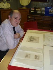 Tom Christie of the Oxford Road Group conducting research at the museum store.